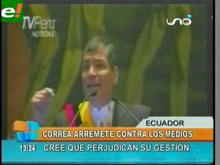Presidente Correa centró informe en críticas a la prensa