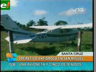 Detienen avioneta que iba a Brasil con 150 kilos de droga