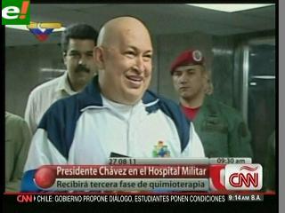Presidente Chávez agradece apoyo antes de recibir quimioterapia