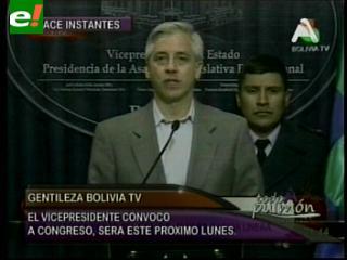 """García Linera: """"Congreso debatirá observaciones a Ley Corta este lunes"""""""