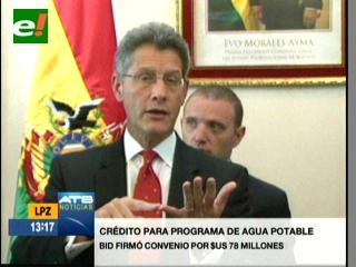 Gobierno y BID firman crédito por $us 78 millones para proyectos de agua