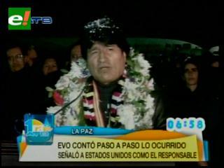 """Evo llegó a La Paz y denunció """"amedrentamiento"""""""
