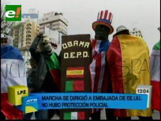 Masiva marcha de gremiales pide el cierre de la Embajada de los EEUU en Bolivia