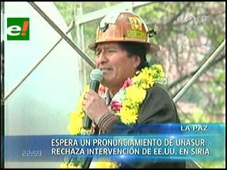 Morales espera que Unasur condene eventual intervención de EEUU en Siria