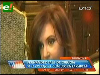 Cristina Fernández se recupera de la anestesia tras la operación