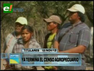Titulares: Censo agropecuario registra un avance del 91%