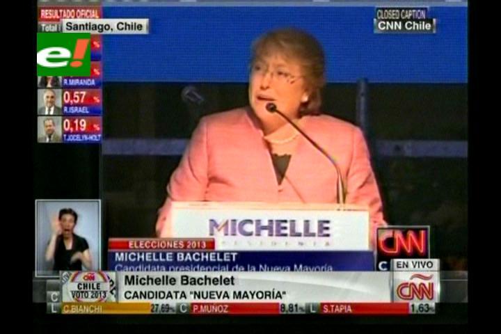 """Michelle Bachelet: """"Sabíamos que ganar en primera vuelta era complejo pero estuvimos cerca de lograrlo"""""""