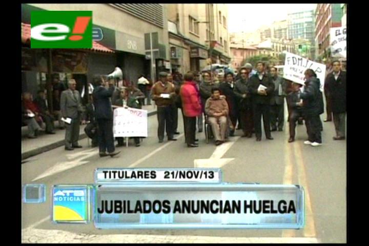 Titulares: Jubilados anuncian huelga de hambre en rechaza al DS 1802