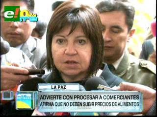Ministra Morales advierte que sancionará drásticamente a quienes efectúen agio y especulación