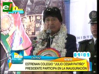 Morales entrega infraestructura educativa en la zona Sur de La Paz