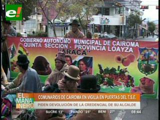 Cairoma exige al TSE reconocer a su alcalde
