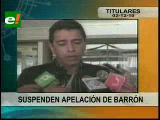 Suspenden apelación del ex Alcalde de Sucre Jaime Barrón