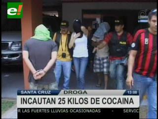 25 kilos de cocaína y cuatro personas detenidas tras operativo antidroga en Santa Cruz