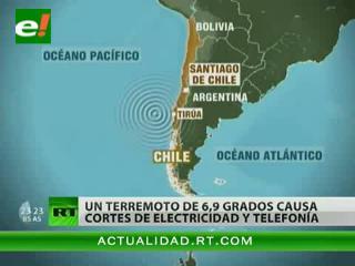 Un terremoto de 6,9 grados sacude el sur de Chile