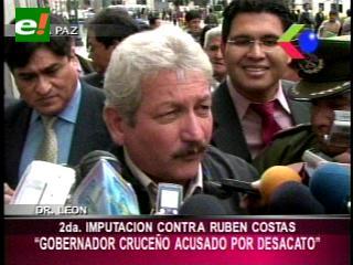 Fiscal emite nueva imputación por desacato contra Rubén Costas