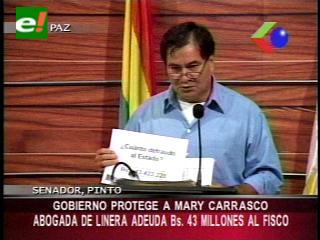 Senador Pinto denuncia a la abogada Mary Carrasco por evasión fiscal por 43 millones de Bs.