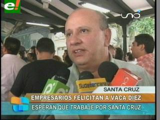 Empresarios cruceños felicitan a Herland Vaca Díez por su triunfo en el Comité Cívico