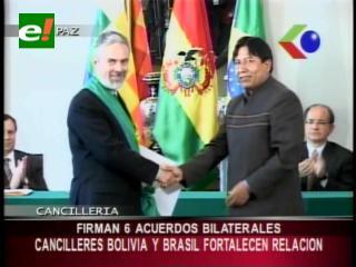 Cancilleres de Bolivia y Brasil fortalecen relación, firmaron 6 acuerdos bilaterales