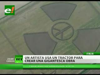 """Gigantesco símbolo de """"radiactividad"""" surgió en un campo de Verona"""