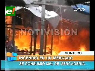 Santa Cruz: Incendio consumió un mercado en Montero