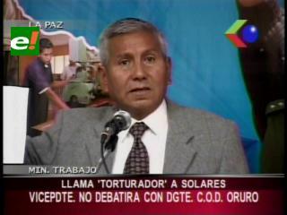 """Ministro de Trabajo llama """"torturador"""" a Jaime Solares, este responde y le dice """"cerdo borracho"""""""