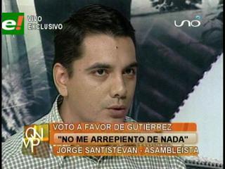 """Jorge Santistevan: """"No me arrepiento de nada, mi voto fue por un tema legal"""""""