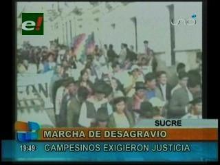 Sucre: Campesinos en una marcha de desagravio recordaron los hechos del 24 mayo del 2008