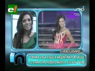 Miss Bolivia Mundo Yohana Vaca viajará a Argentina por motivos de salud