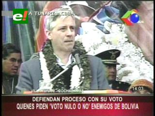 """García Linera: """"Los que quieren el voto nulo, son los enemigos de Bolivia"""""""