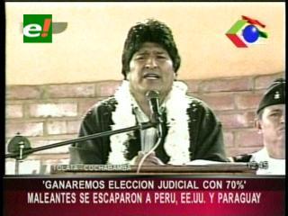 """Evo Morales: """"Ganaremos las elecciones judiciales con el 70%"""""""