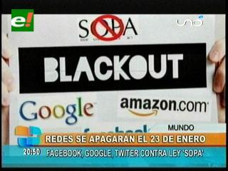 Google, Facebook y Twitter cerrarán sus sitios el 23 de enero