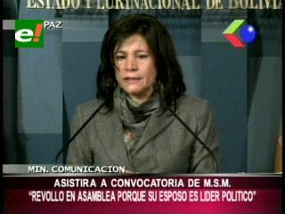 """Ministra de Comunicación justifica """"coplas"""" de Evo y critica a diputada Revollo"""