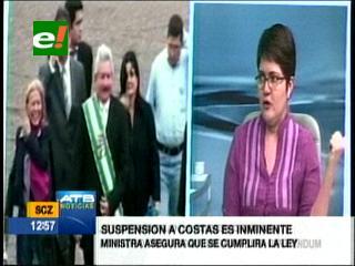 """Ministra de Autonomías: """"Suspensión a Rubén Costas es inminente"""""""