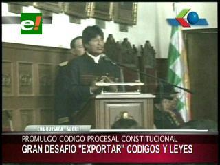 Evo espera que Bolivia sea un modelo de justicia de exportación