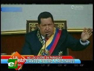 Hugo Chávez retira personal militar de su embajada en Paraguay