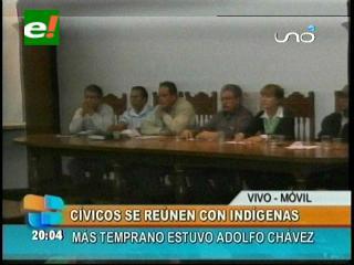 Cívicos cruceños se reúnen con líderes de la Cidob, dan su apoyo a la IX marcha indígena