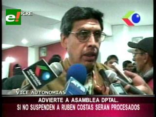 Suspensión a Rubén Costas: Viceministro de Autonomía advierte con procesos a asambleístas