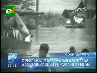 Lluvias dejan 17 muertos en Bolivia, según balance oficial