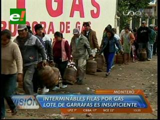 Largas filas por una garrafa con gas en Montero