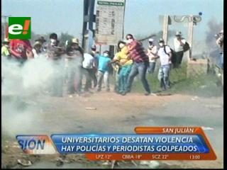 Duros enfrentamientos entre universitarios y la Policía en San Julián