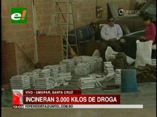 Felcn incineró más de tres mil kilos de droga