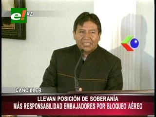 """Choquehuanca dice que Bolivia quiere relaciones de respeto y no de """"humillación"""""""