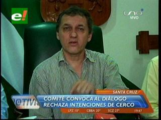 Comité Cívico Pro Santa Cruz convoca al diálogo, rechaza amenazas de cerco de los interculturales