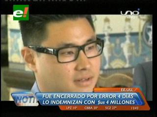 EEUU: Joven que fue olvidado en una celda por 5 días recibe $us 4 millones