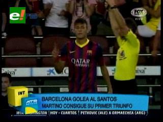 Barcelona golea a Santos en el debut del Tata Martino
