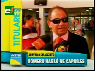 Titulares: Ministro Romero asegura que Henrique Capriles tiene derecho a visitar Bolivia