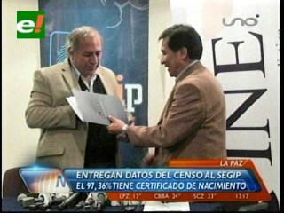 Entregan datos del censo al Segip: 97% de bolivianos tiene certificado de nacimiento y 79%, cédula de identidad