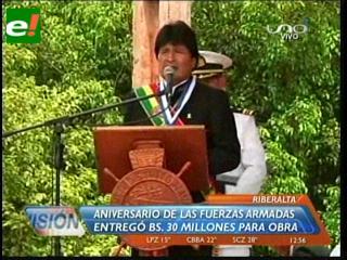 Evo participó en el 187 aniversario de creación de la Armada Boliviana