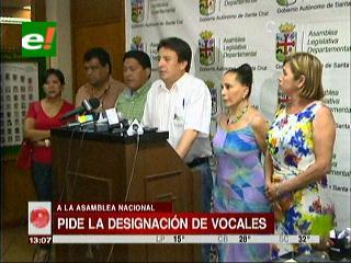 Asamblea Departamental de Santa Cruz exige la designación de vocales electorales a la Cámara de Diputados