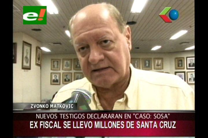 Caso Soza: Zvonko Matkovic dice que el ex fiscal se llevó millones de Bs de Santa Cruz